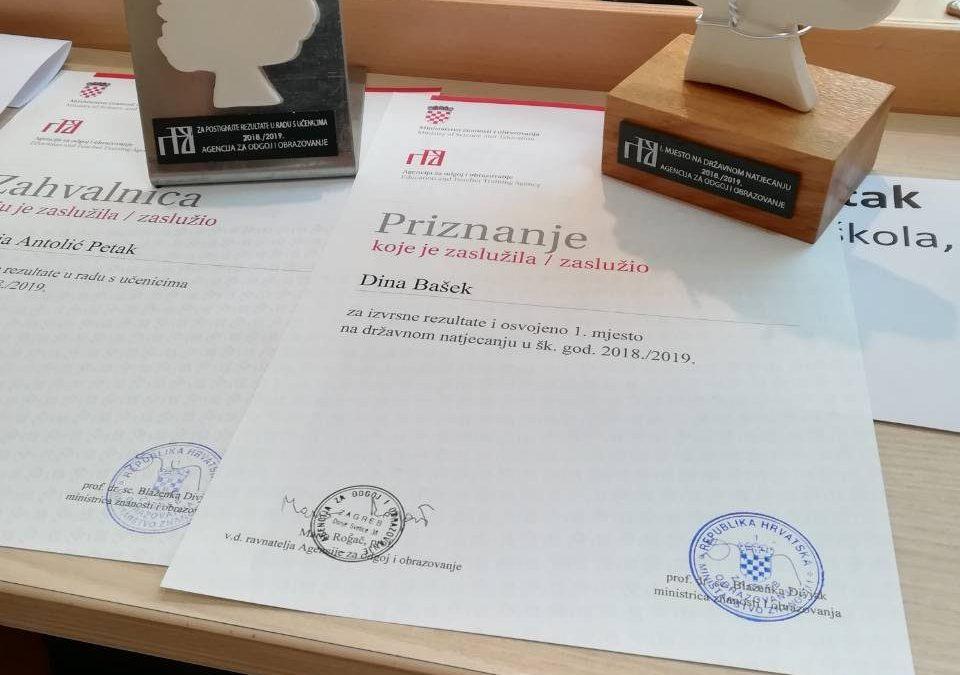 Oskar znanja Dini Bašek državnoj prvakinji iz Njemačkoga jezika